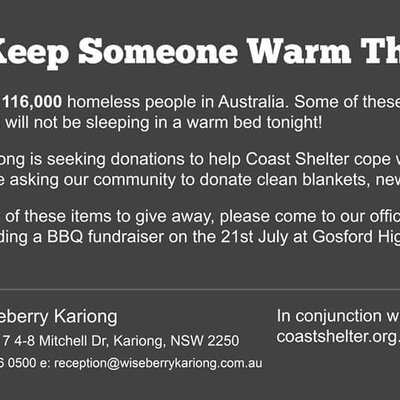 """""""It's offical we are partnering with Coast Shelter for this year's winter appeal. We are excited to be helping our local community first. It all start'"""""""