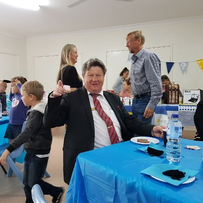 """Here's Tony enjoying the Biggest Morning Tea at Chain Valley Bay Community Hall today with the locals!"""