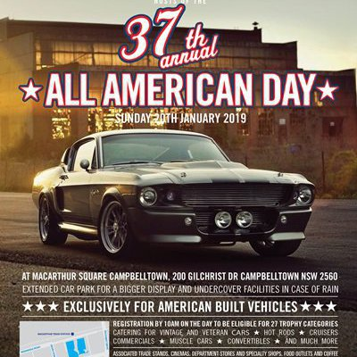 """CALLING ALL MUSTANG OWNERS! The 37th Annual All American Day car show is this Sunday from 9am at Macarthur Square - get your shine on!"""