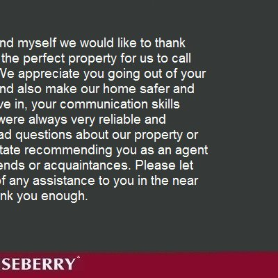 Thank you for helping us find the perfect property...
