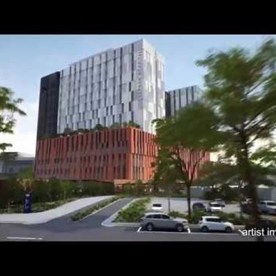 """""""On Friday 16 November, Member for Penrith, Stuart Ayres unveiled the schematic design of the new 14-storey clinical tower that is being built as part """""""
